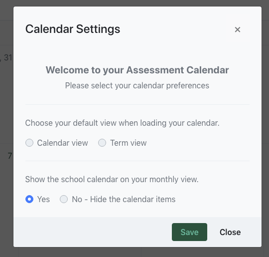 Assessment Calendar Settings Modal