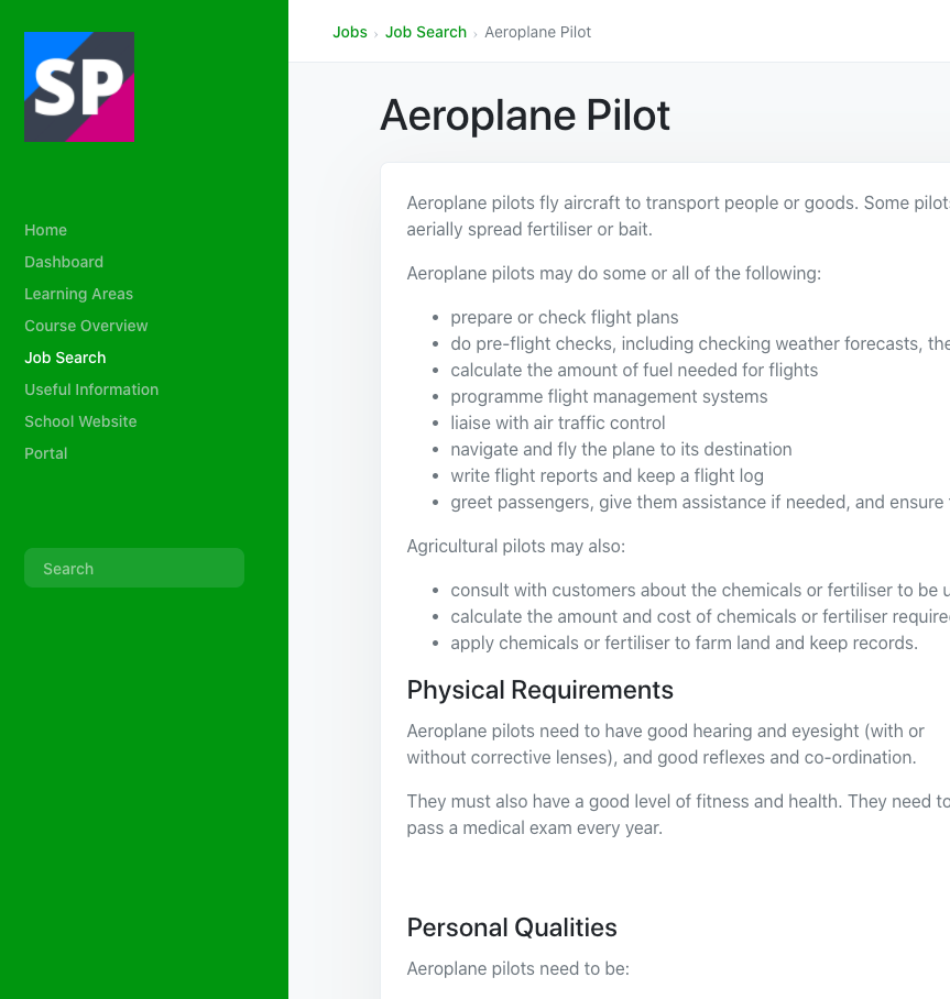 Example Job Page in SchoolPoint