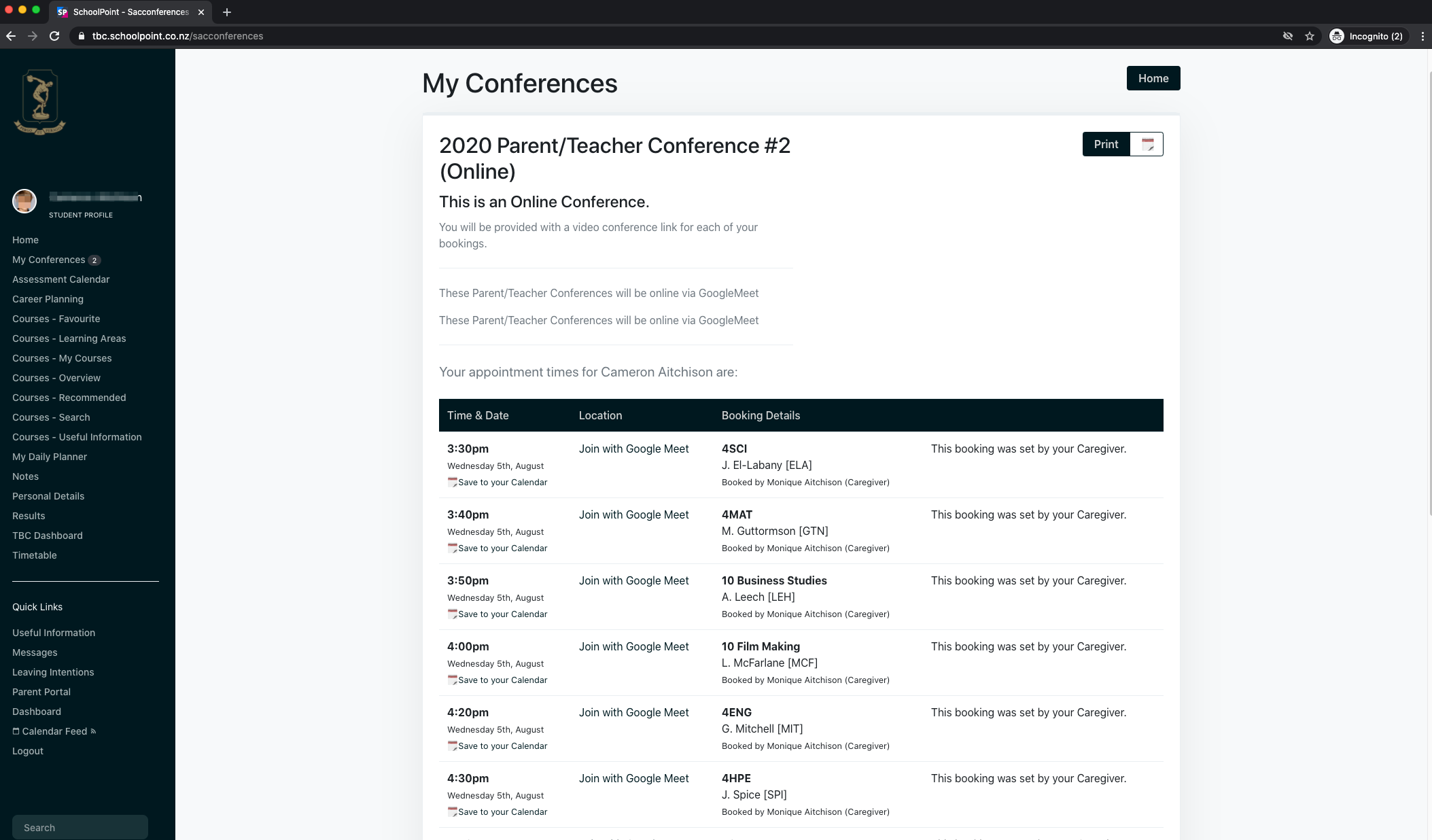 My Conference Screenshot 2