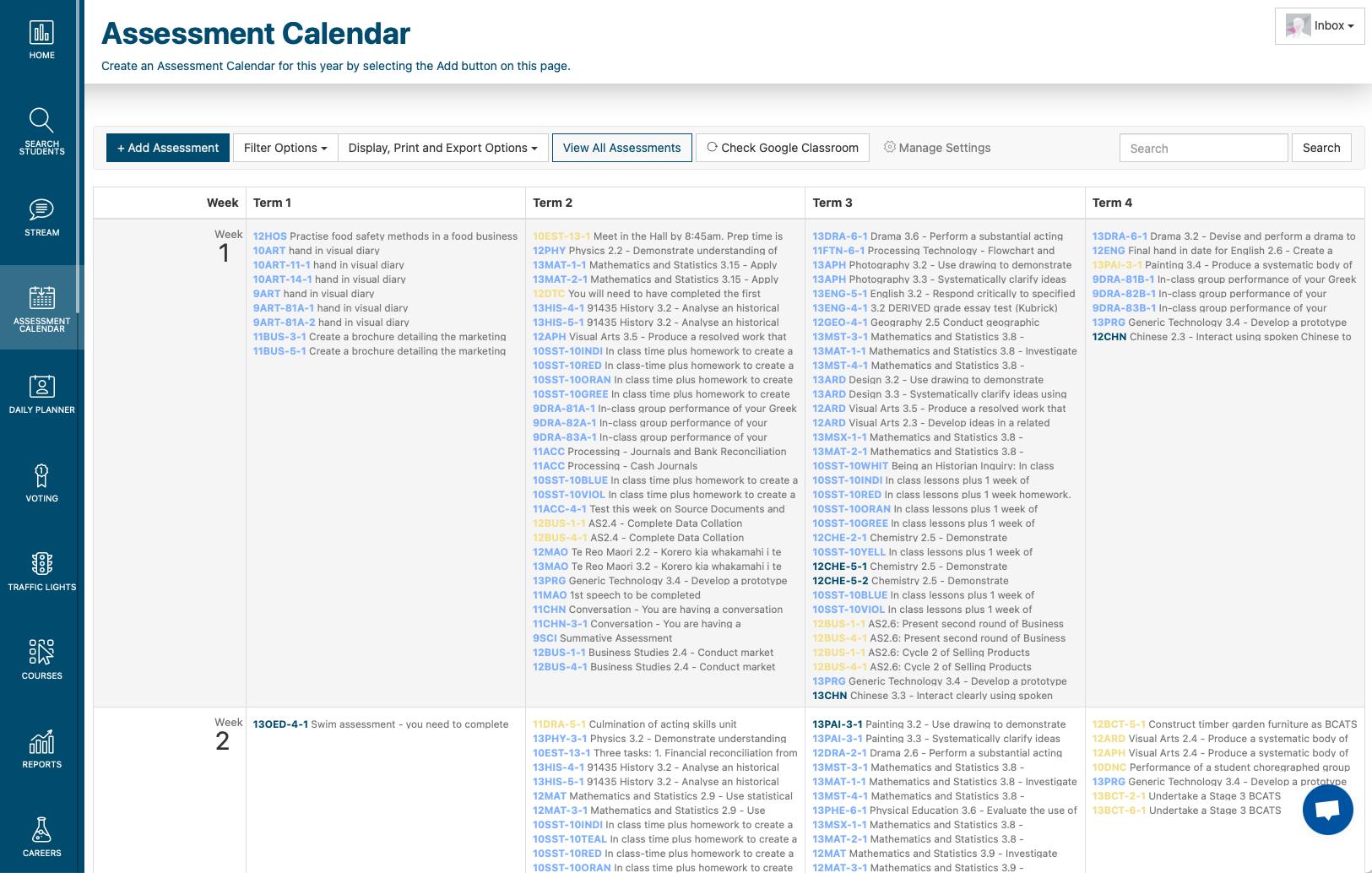 Sp Assessment Calendar Admin Screen